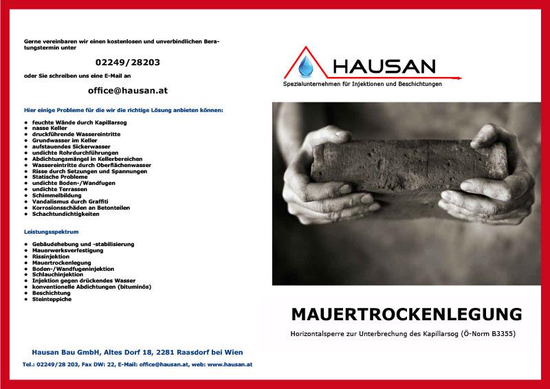 Hausan Bau GmbH Mauertrockenlegung Folder