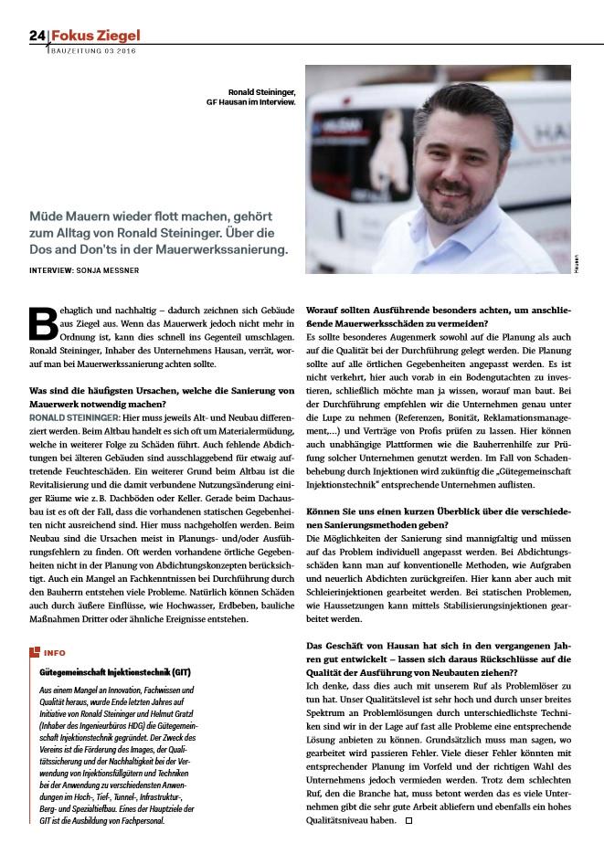 Interview von Ronald Steininger in der Fokus Ziegel
